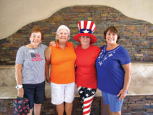"""""""We Honor those who Serve Us"""" Golf Fun Scramble are as follows (L-R) June Parks, Billie Seiberling, Kathy Jones and Lucsa Buzbee"""