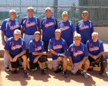 Sun Division Tourney Champs: Standing (left to right) are Mgr. Gary Hillabolt, Steve Hilby, Tom Schneider, Bill Corso and Sam Giordano. Kneeling (left to right) are Gregg Peterson, Dennis Bernaiche, Mike Willits, Tim Loeffler and Dennis Kennedy. (Photo by Core Photography)