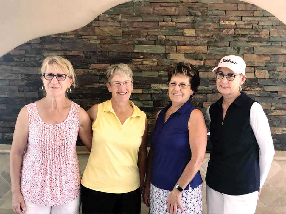 (Above) Summer League's first winning team which played June 13 at Palo Verde golf course is composed of the following (left to right): Tricia Colombe from Palo Verde, Nancy Dinkleman and Bonnie Moore from Ironwood and Debra Foster, also from Palo Verde.