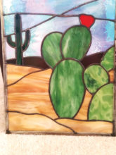 Stained glass desert scene by Alexa Buchanan