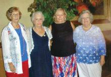 Cottonwood Ladies Bridge officers 2017-2018 (left to right): Treasurer Jeanette Newman, Vice President Dee Guthrie, President Gloria Danker and Secretary Karen Sanchez