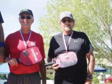 David Zapatka, Sun Lakes, Arizona, and Dennis Hackney, Florence, Arizona, won a bronze medal in the Prescott, Arizona, 5.0 Men's Division in Pickleball.