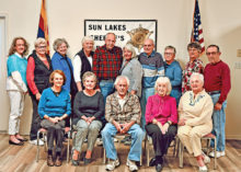 Sun Lakes Posse Medical Equipment Associates - 1st row (left to right): Judy Stoner, Judy Livingston, Phil Caliendo, Phyllis Swanson, Donna Bailey; 2nd row (left to right): Jill Taufen, Susanne Thorne, Pat Herbert, Shirley Hutchings, Ron Isaacson, Cathy LaMothe, Tony Begich, Jeanne Harris, Barbara Thompson, Larry Stoner; not pictured: Kathi Bobek, Maureen Connolly, Kathy Downey, Nancy Hibbard, Barbara Hill, Pat Kreiling, Margo Mask, Ricki O'Keeffe, Janet Rogers, Betty Sanders, Ron Schaab, Mary White, Eleanor Woodman