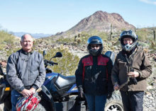 Sun Lakes Roadrunner RV Club members (left to right) Jim Clark, Linda Weber and Barb Clark take a break from riding desert trails at the January dry camping rally in Quartzsite. Photo courtesy of Virgil Weber