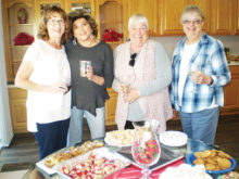 The Lady Jokers Wild Hand and Foot card group, which meets on Thursday afternoons, gathered recently for a holiday picture. Left to right: Hostess Phyllis Schager and her committee, Arlene Singer, Barb Casper and Karen Ryan