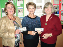 The holiday lunch was held in December at the San Tan Ballroom. Displaying their $50 winnings in the raffle drawing are (left to right) Colleen Ferris, Mary Kunzelman and Kathy Mindnich.