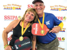 David Zapatka, IronOaks, and Diane Baumgartner won the Gold medal in the 5.0 65-69 Mixed Doubles at the Sun City Marinette SSIPA Tournament.