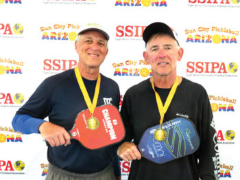 David Zapatka, IronOaks, and Jim Barbe won the Gold medal in the 5.0 65-69 Men's Doubles at the Sun City Marinette SSIPA Tournament.