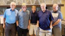 IronOaks Breakers Board members (left to right): Rene Lamy, secretary; Willie Foster, vice president; Larry Stadler, president; Bill Aune, treasurer (post knee surgery); and Randy Bryan, tournament director