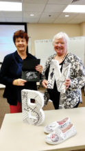 Kathie Neffenger (right) with Jean Culver (left) offer their popular art class.