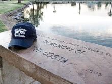 Angler Ted Costa's bench at SLCC's Lake 6