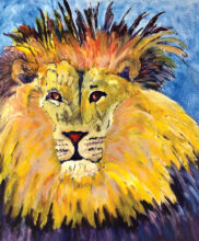 """The King, by Diane Hitt, exhibited by the WaterMedia Club in """"Furs, Feathers, and Fins"""""""