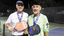 David Zapatka (IronOaks) and Jim Barbe won the gold medal in the 5.0 65+ Men's Doubles in Surprise, AZ.