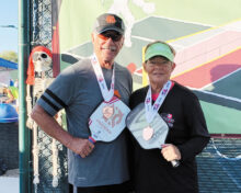 Janice Golden (Cottonwood) and Carl Tierze won the bronze medal in the Mixed Doubles 4.5 60+ at SPA Monster Smash Tournament, Surprise, AZ.