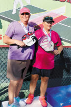 Jamie Noblit (Cottonwood) and Janice Golden (Cottonwood) won the silver medal in the Women's 4.5 60+ at SPA Monster Pickleball Tournament, Surprise, AZ.
