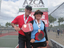 David Zapatka (IronOaks) and Diane Baumgartner won the bronze medal in the 5.0 65+ Mixed Doubles at the Monster Smash in Surprise, AZ.