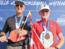 David Zapatka (IronOaks) and Dale Charlton (Kelowna, BC, Canada) won the bronze medal at the USAPA National Championships in the Men's 5.0, 65+, age and skill division. The tournament was held at the Indian Wells Tennis Garden, Indian Wells, California.