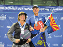 David Zapatka (IronOaks) and Diane Baumgartner (Oregon) won the silver medal at the USAPA National Championships in the Mixed 5.0, 65+ age and skill division. The tournament was held at the Indian Wells Tennis Garden, Indian Wells, California.