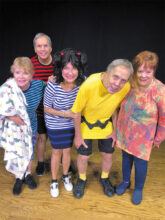 The cast of You're a Good Man, Charlie Brown includes (left to right) Joyce Recupido (Linus), Jim Brown (Schroeder), Sally Holberg (Lucy), Chris Mank (Charlie Brown), and Ginger Henry (Sally). The play opens March 4.