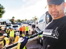 Operation Enduring Gratitude Founder Charlie Ellis and veteran volunteers prepare to renovate a veteran's home.