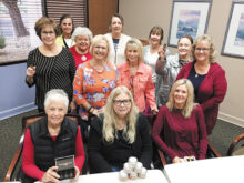 Pictured (left forward to right): Linda B.., Diana E., Pam C., Pat M., Debbie G., Julie A., Deena B., Sarah C., Helene H., Bernie H., Vicki M., Patti C.