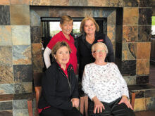 Executive Board for 2020. Back row: Sandy Krediet (President), Mary Medved (Vice-President); bottom row: Barb Johnston (Secretary), Rachael Enroe (Treasurer)