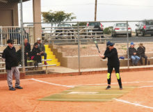 Ann Hegney waits for a pitch in a recent Lady Sluggers game at the Field of Dreams. (Photo by Pat's Pics, LLC)