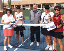 Blue Division: Tina Carr and Kim Vargus, Champs, with Tournament Director Jerry Higgins and second place team, Dorothy Thurman and Pat Mc Roberts