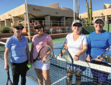 The longest match of the tournament (2 hours 37 minutes) and they could still smile. Cathy Moliter and Cindy McCarville (right) defeated Vonnie Ticknor and Mary Braton.