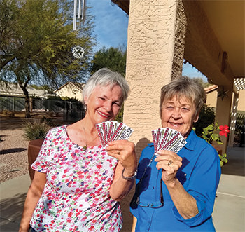 Choradaire members Janet Lewis and Pam Klima.
