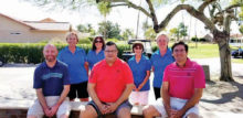 Presentation of donation to PV golf pros: front row (left to right): Joey Forsythe, Greg Tokash, John Griglak; back row (left to right): Mary Horn, Wanda Johnson, Gail Assenmacher, and Val Verbeck