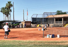 Socially-distanced batting practice at the Field of Dreams (photo courtesy of Mundane Photo Company)