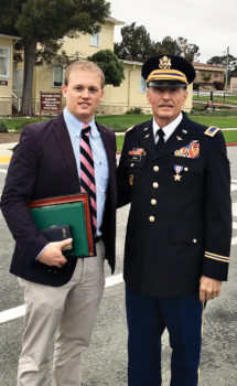 CW4 Daniel E. Jones (Purple Heart recipient) and son Daniel L. Jones - 44 years and after the persistence of an Army major, Vietnam veteran receives the Silver Star Medal March 8, 2016, at the Presidio of Monterey at the historic Weckerly Center.