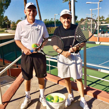 Al Wagner and Pierre Moresi are the chief instructors for Cottonwood's free tennis clinics which begin in October. Pierre handles the Monday sessions, and Al does the Tuesday classes.