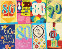 Milestone birthday cards are among the many types of Crystal Cards available.