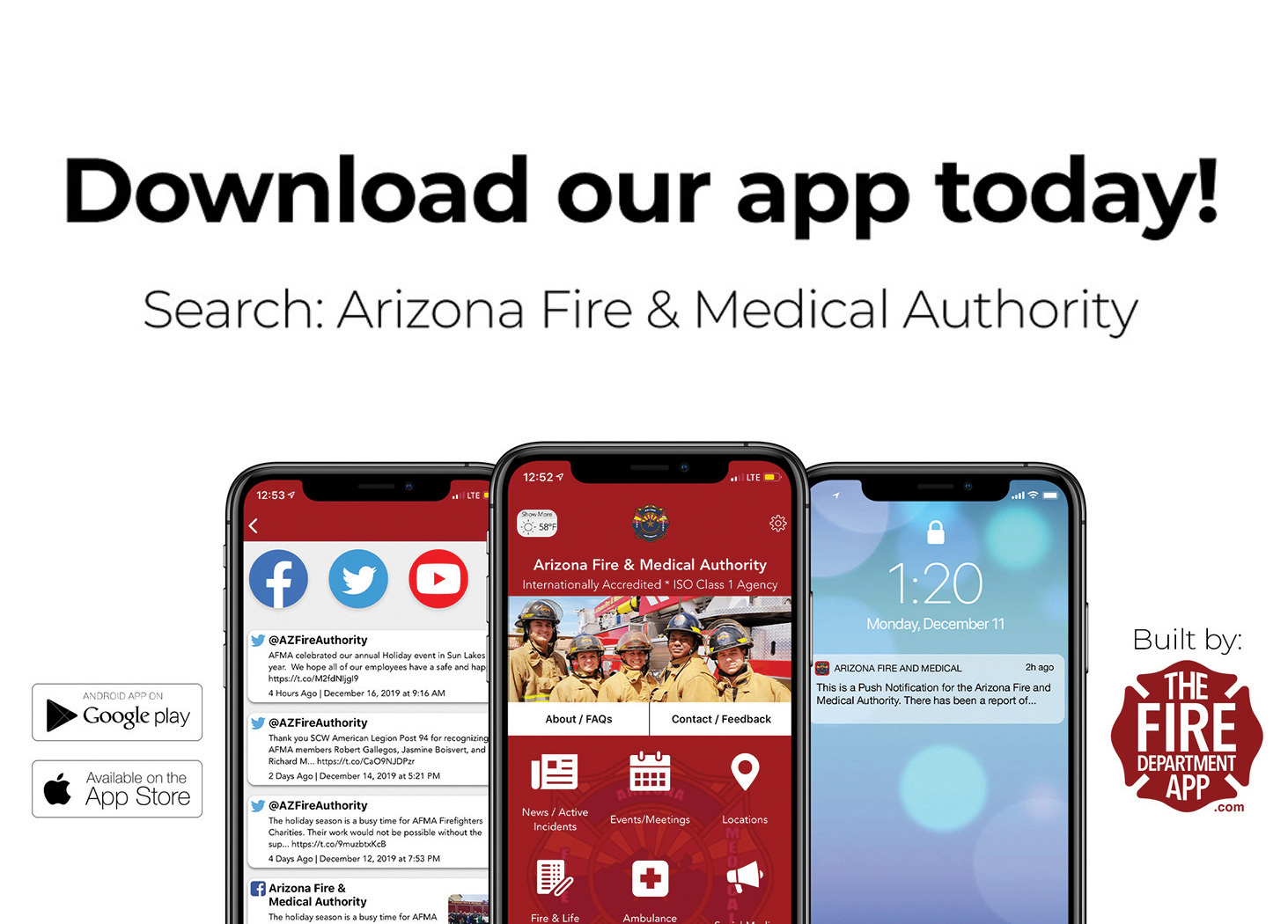 The Arizona Fire & Medical Authority reminds Sun Lakes residents that they can get their free app for their smartphones. It has links for national, state, and local COVID information, extreme weather conditions, and other pertinent information and local links.