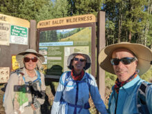Sun Lakes hikers DeEtte Faith, Diane Alessi, and Henry Silverblatt on a recent hike at Mount Baldy Wilderness in Eastern Arizona (Photo by Henry Silverblatt)