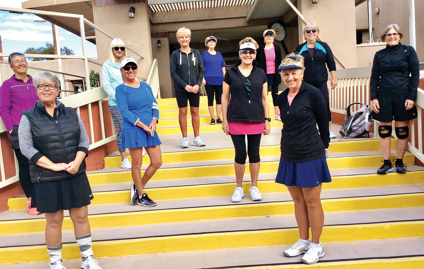 Players in the Monday Women's League include front row: Kathy Moliter and Susan Aparicio; second row: Cindy McCarville, Kathy Moore, Susie Dunn, and Linda Dirksmeyer; back row: Gwen Lucas, Kris Ongert, Jenette Curran, Kim Vargas, and Peg Onken.
