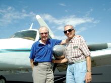 The Sun Lakes Aero Club owes a debt of gratitude to four former Sun Lakes residents who were responsible for forming the club more than 25 years ago. Pictured above in a 2010 photo are two of the co-founders (left to right): Vern Nelson (deceased 2017) and Al Galvi (deceased 2014). Other co-founders were Elton Dyal (deceased 2012) and Sam Doria (deceased 2011). (Photo by Gary Vacin)