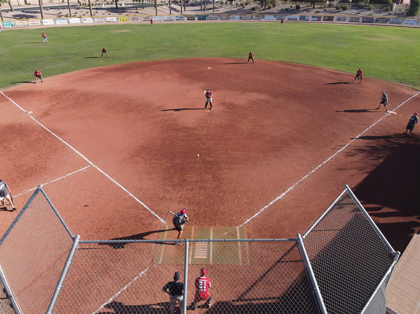 "A ""drone shot"" from a recent Sun Division game: Brenden Financial vs. Leckner Realty (Courtesy of SkyView Digital Media, Alysa Chapman, Principal)"