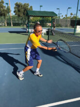 Tennis Tip 2: This picture displays good form and weight transfer, timing and balance, and overall good fundamentals. Try to work on this by having a reliable weekly practice partner (ball machine) to improve your skill development.