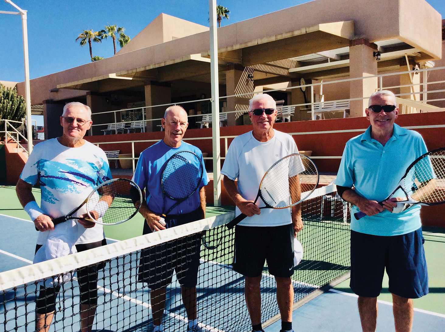 Four participants in the Thursday League get ready to play using the new format (left to right): Ron Ryer, Spencer Roberts, Keith Nelson, and Randy McManus.