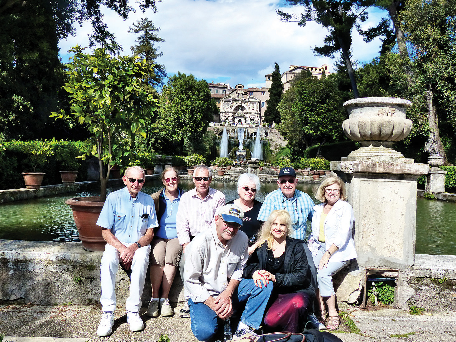 Reminiscing on travel to Rome in 2016: we will be back. Left to right: Ray Johnson, Pam Johnson, Nick Bogdanoff, Ilona Melnyk, Ray Rajamaki, and Jeanette Rajamaki; front: Mike Melnyk and Tami Bogdanoff