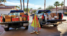 Here are the two big trucks the Sun Lakes Pickleball Club Cottonwood filled for the Hamilton Kids.