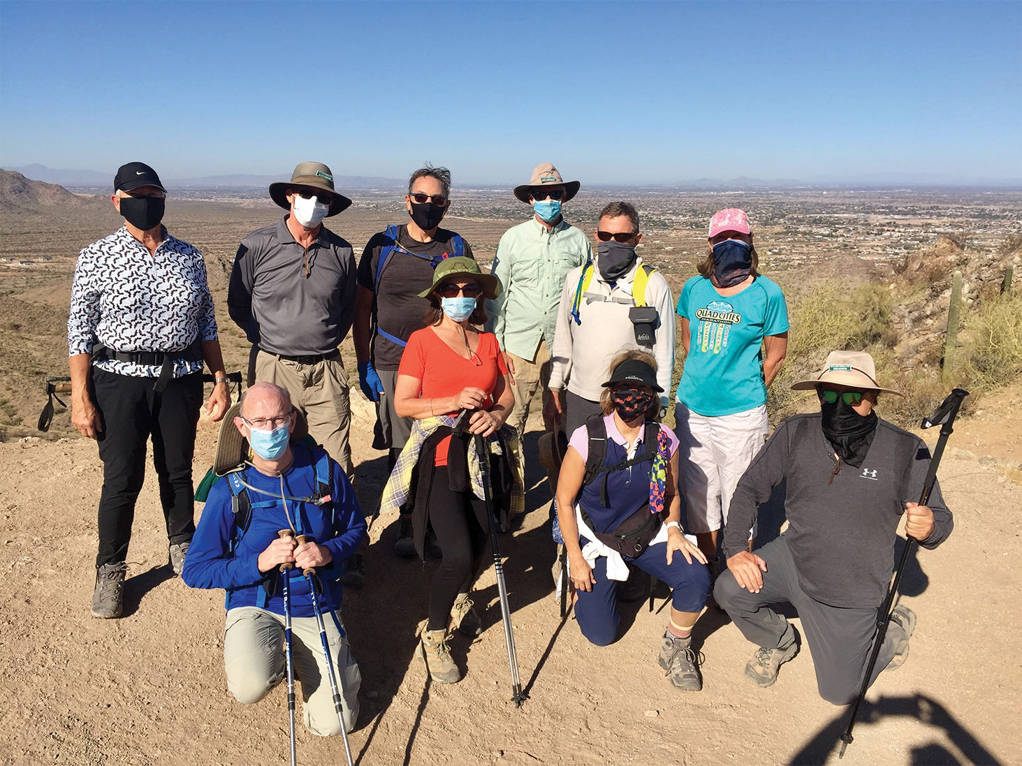 Club hikers atop Goldmine Ridge in San Tan Regional Park; pictured (left to right) front row: Stu Frost, Fabiola Scotto, Dawn Kain Bjustrom, and Tom Scotto; back row (left to right): Barb Smith, Scott Downey, David Coffman, Gaary Breitbach, Jack Rubino, and Kitch Trost