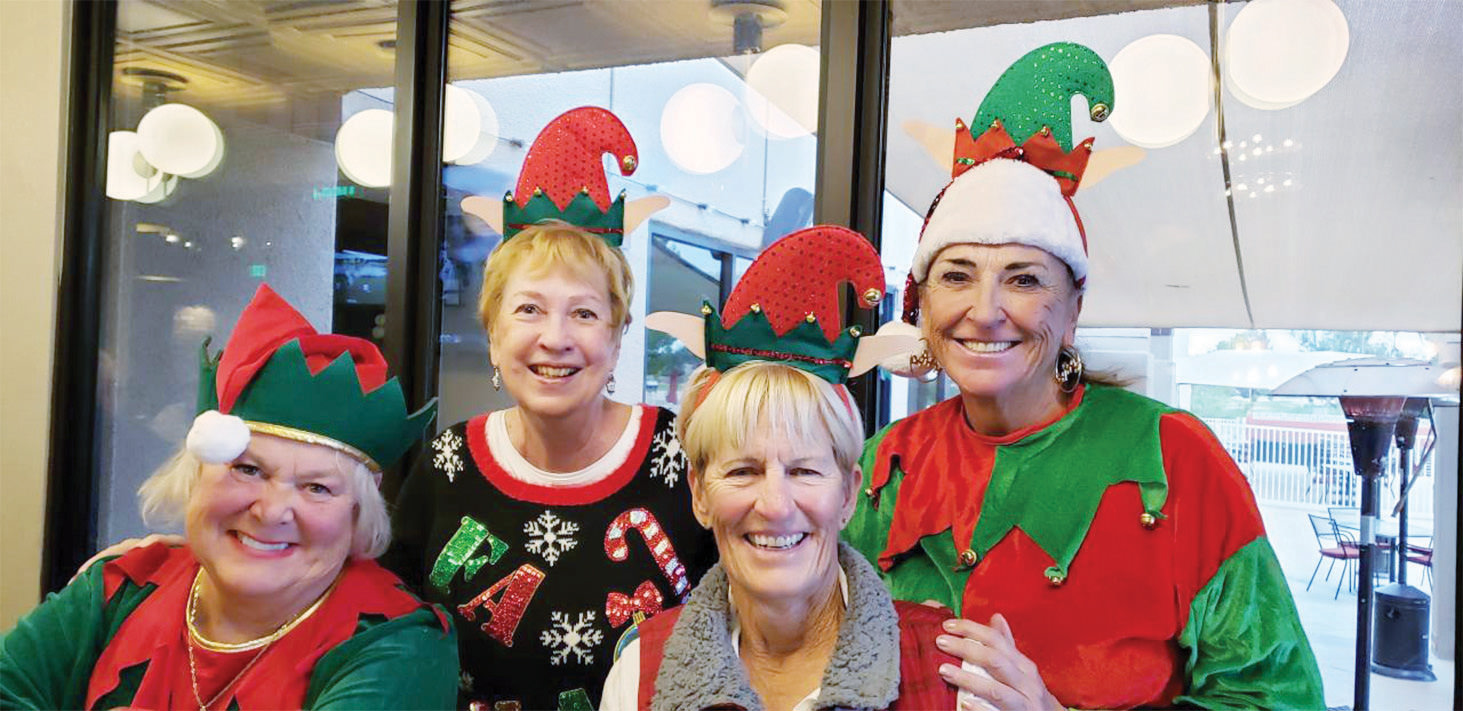 Judges for the Ugly Christmas Sweater Contest: Marilyn Jasper, Glenna Twing, Lorri Morgan, and Sharon Howard