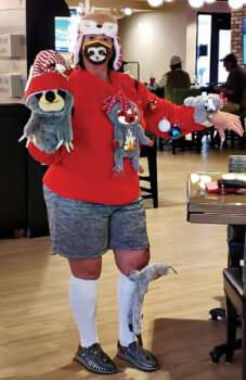 Grand prize winner of the Ugly Sweater Contest Rachelle Wilson