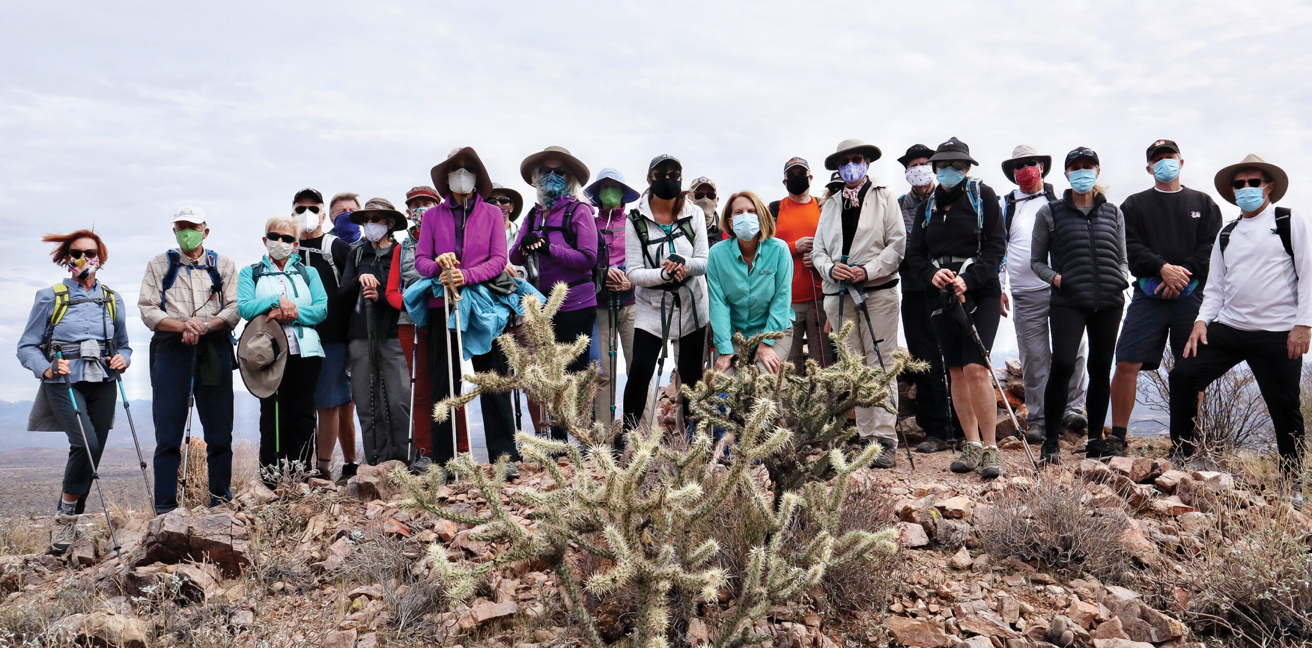 Twenty-four Mellow Level hikers enjoying the Promenade, Upper and Lower Sonoran, and Overlook Trails at Adero Canyon in Fountain Hills this past February.