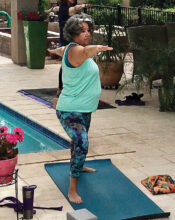 Evy Birkemo practicing yoga outdoors during the pandemic lockdown this summer