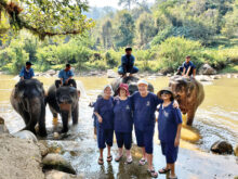 Terry Clark, Heather, Cheryl, and Gladys at the Elephant Sanctuary in Thailand just before COVID